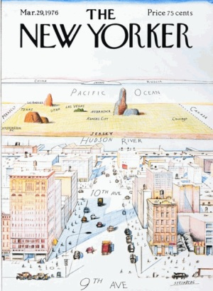An old, famous New Yorker cover. How it works in the benighted province of Manhattan.
