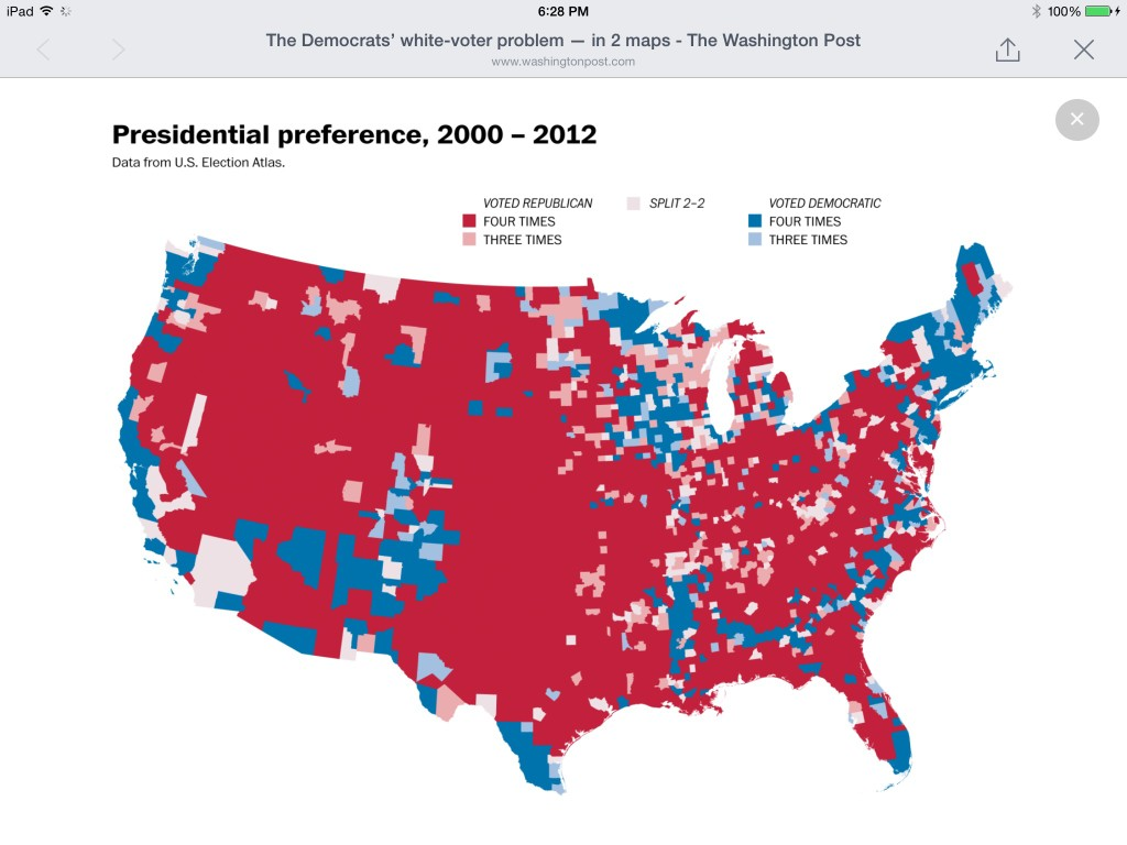 Red voters vs Blue voters nationwide.