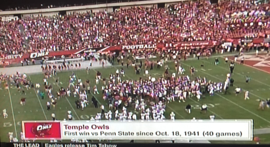 No, they couldn't keep the Temple fans off the field at the a Link.